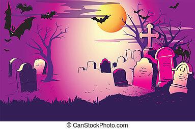cemeter., halloween éjszaka