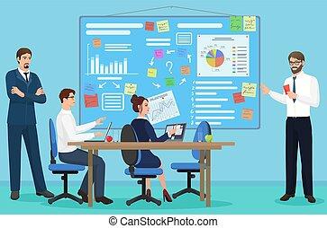 center., fogalom, dolgozó, ügy emberek, hivatal., hely, együtt, bemutatás, beszéd, coworking, vektor, meeting., nyílik, illustration.