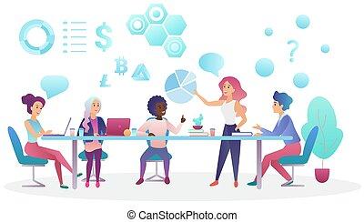 center., fogalom, hivatal, ügy emberek, munka, kreatív, beszéd, coworking, vektor, sportcsapat találkozik, illustration.