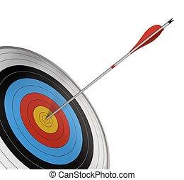 center., oldal, szög, céltábla, render, felett, hivatalos, elszigetelt, verseny, csapó, háttér., nyíl, white piros, 3