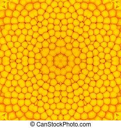 center., virág, sárga, kaleidoszkopikus, tervezés, körkörös, mandala