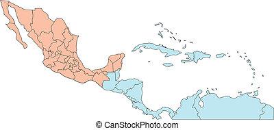 central america, editable, országok