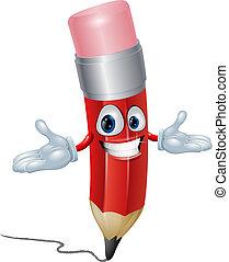 ceruza, betű, karikatúra