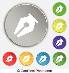 ceruza, buttons., lakás, cégtábla., vektor, öt, jelkép, ikon
