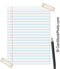 ceruza, dolgozat, vonalazott