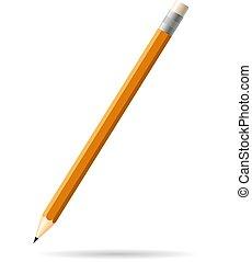 ceruza, elszigetelt, hosszú, háttér., narancs, árnyék, fehér