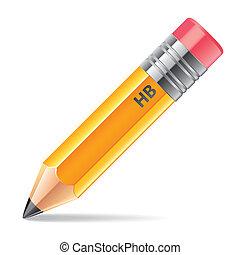 ceruza, fehér, vektor, elszigetelt, ábra