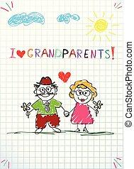 ceruza, gyerekek, köszönés, együtt, kéz, nagyapó, nagyanyó, húzott, kártya