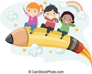 ceruza, gyerekek, stickman, rakéta, ábra