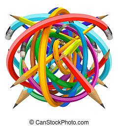 ceruza, labda, render, 3