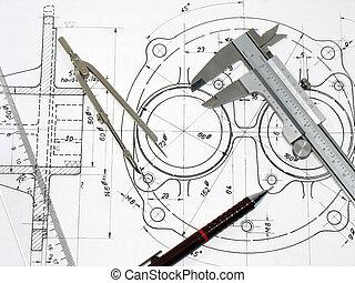 ceruza, műszaki, vonalzó, iránytű, caliper, rajz