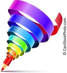 ceruza, művészet, fogalom, tervezés, kreatív
