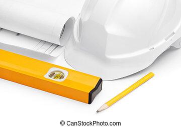 ceruza, nehéz, egyszintű, druft, kalap, fehér