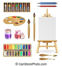 ceruza, paletta, állhatatos, rajzóra befest, fest, elszigetelt, vektor, művészi, festőállvány, anyagi készletek, eszközök, ecset