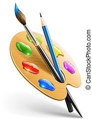 ceruza, paletta, művészet, ecset, eszközök, rajz