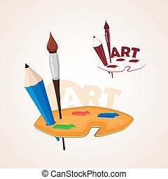 ceruza, paletta, rajzóra söpör, festék