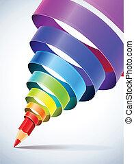ceruza, spirál, kreatív, sablon, színezett, szalag
