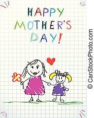 ceruza, szeret, színes, csekkszámlák, anyu, ön, gyerekek