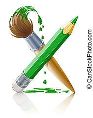 ceruza, zöld, ecset, festék