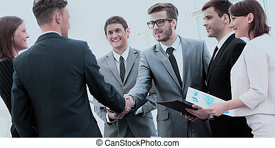 cfo, ügy, jelenlét, kézrázás, befog, befektető