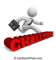 'challenge', szó, felett, ugrás, üzletember, 3