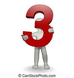 charcter, emberi, három, szám, birtok, 3