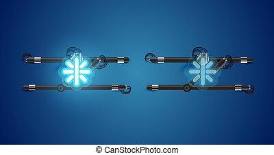 charcter, izzó, kék, el, neon, gyakorlatias