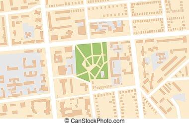 chart., park., város, navigáció, természetjáró, elhelyezés, központi, városi, geographical térkép