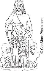 children., jézus, oldal, színezés