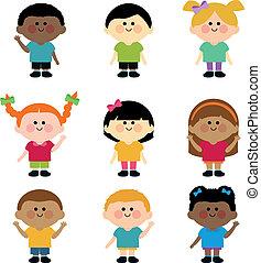 children., különböző, vektor, csoport, ábra