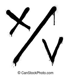 choice., vektor, szavazás, ketyegés, fekete, button., test., cross., signs., falfirkálás, elhajít, ellenőriz, jóváhagyott, marks.