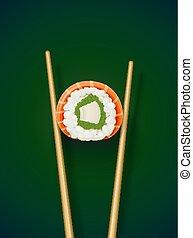 chopstick., sushi, gyűjtés, fast-food, hengermű