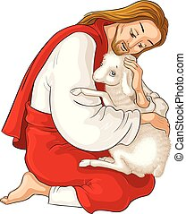 christ., pásztor, példabeszéd, jó, kiszabadítás, elveszett, sheep., elkapott, elszigetelt, jézus, bárány, tövis, fehér, történelem