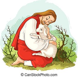 christ., pásztor, példabeszéd, jó, kiszabadítás, elveszett, sheep., elkapott, jézus, bárány, tövis, történelem