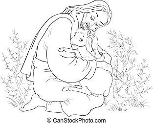 christ., pásztor, példabeszéd, jó, kiszabadítás, elveszett, sheep., elkapott, jézus, színezés, bárány, tövis, oldal, történelem