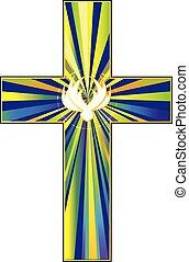 christ's, jelkép, galamb, kereszt, feltámadás