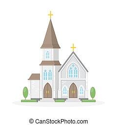 church., elszigetelt, christan