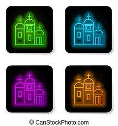 church., fekete, vallás, háttér., keresztény, vektor, izzó, fehér, ábra, templom, ikon, épület, derékszögben, elszigetelt, egyenes, button., neon