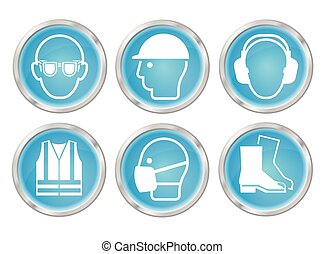 cián, egészség, biztonság, ikonok