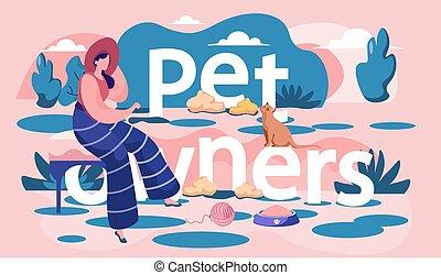 cica, utca., leány, nő, játék, inscription., macska, tulajdonos, maradék, ülés