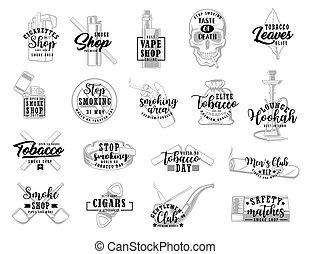 cigaretták, dohány, zöld, aláír, dohányzik, dohányzó