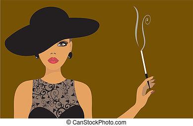 cigaretta, hölgy, kalap