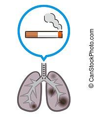 cigaretta, lungs., fehér, tüdő, háttér., dohányzik, elpusztít