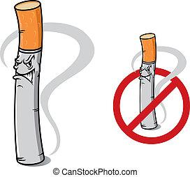 cigaretta, nem, aláír, dohányzó, veszély
