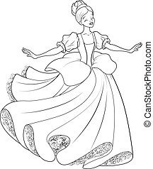 cinderella, táncol, oldal, labda, színezés