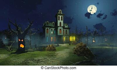 cinemagraph, ijedős, ködös, 4k, éjszaka, nemesi kúria