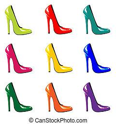 cipők, színezett