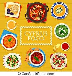 ciprus, étkezés, ciprusi, poszter, konyha, karikatúra, vektor