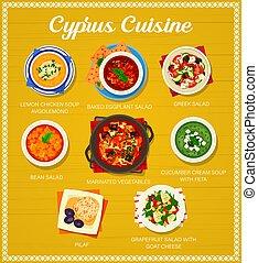 ciprus, étrend, vektor, ciprusi, étkezés, konyha, sablon