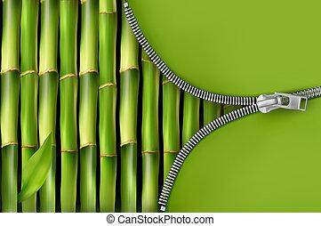 cipzár, háttér, nyílik, bambusz